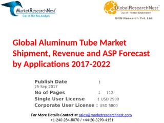 Global Aluminum Tube Market Shipment, Revenue and ASP Forecast by Applications 2017-2022.pptx