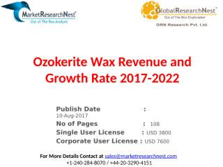 Ozokerite Wax Revenue and Growth Rate 2017-2022.pptx