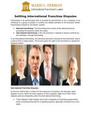 Settling International Franchise Disputes.pdf